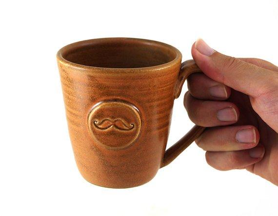 Brown Mustache Mug  by MiriHardyPottery