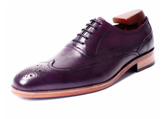custom made wingtip brogue oxford in aubergines, colored by hand