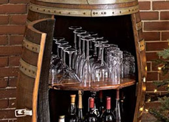 Rolling Wine Barrel Bar