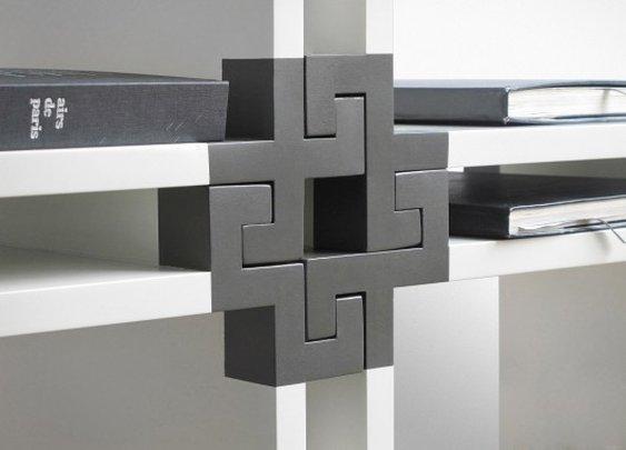 NV01 modular bookcase fits together like a giant jigsaw
