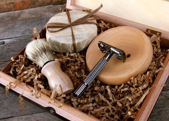 Wooden Men's Shave Set with Vintage Cigar Box