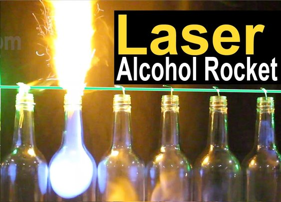 Watch a Laser Light Glass Bottles on Fire!