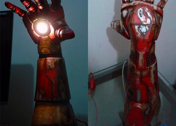 Battle Damaged Iron Man Hand Repulsor Desktop Lamp