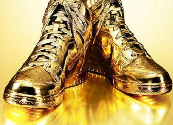 Indulgences No 5 Custom Gold-Dipped Nike Sneakers