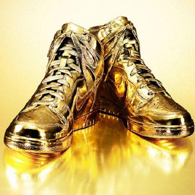 Indulgences No 5 Custom Gold-Dipped Nike Sneakers