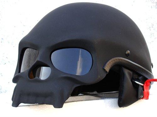 BLACK SKULL MOTORCYCLE CHOPPER HELMET