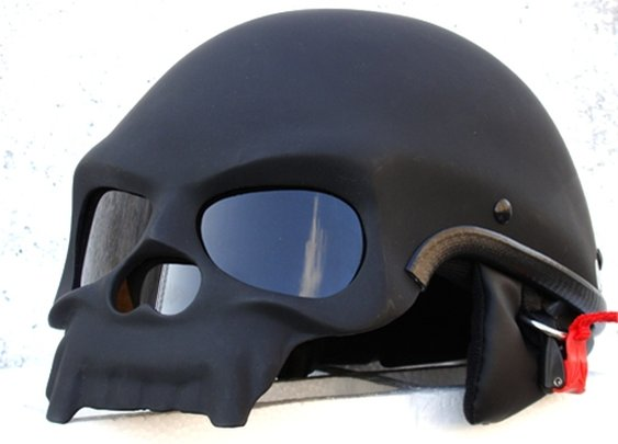 BLACK SKULL MOTORCYCLE CHOPPER HELMET