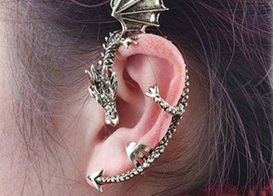 Metal Dragon Bite Ear Cuff Wrap Earring