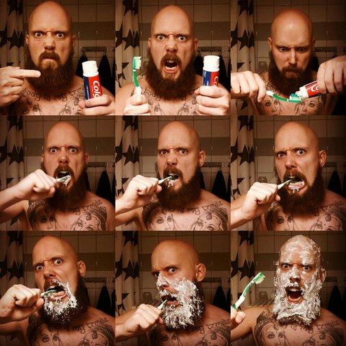 How Real Men Brush Their Teeth