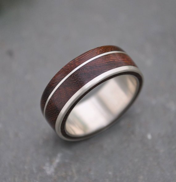 Wood and Silver wedding ring