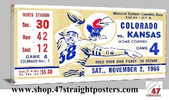 1968 Colorado vs. Kansas football ticket art. Game room art.