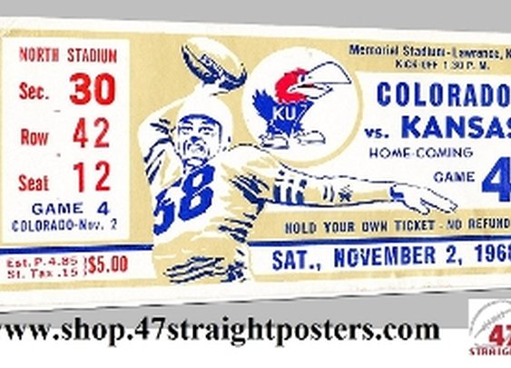 1968 Colorado vs. Kansas football ticket art. Game room art.