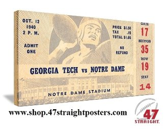 Vintage Notre Dame football ticket art. Georgia Tech football ticket art.