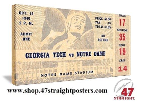 Vintage Notre Dame football ticket art. Georgia Tech football ticket art.