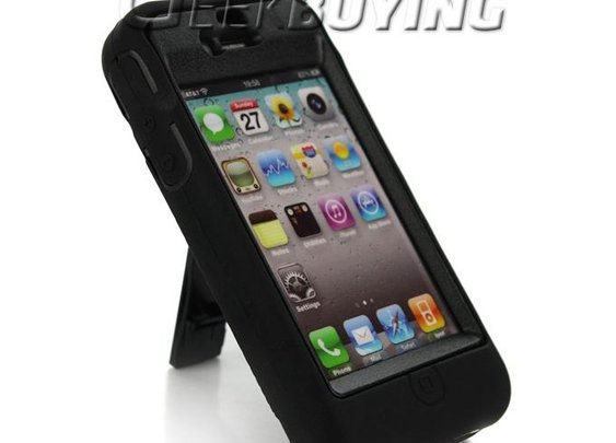 Stylish Protective Cover Case with Holder for iPhone 4 iPhone 4S  Black - GeekBuying.com