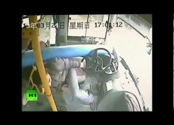 Chinese Bus Driver Dodges Death as Pole Smashes Through Windscreen | ClickExist