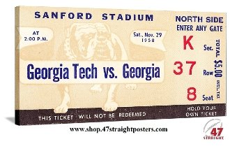 Georgia Bulldogs football art, college football art, vintage football art