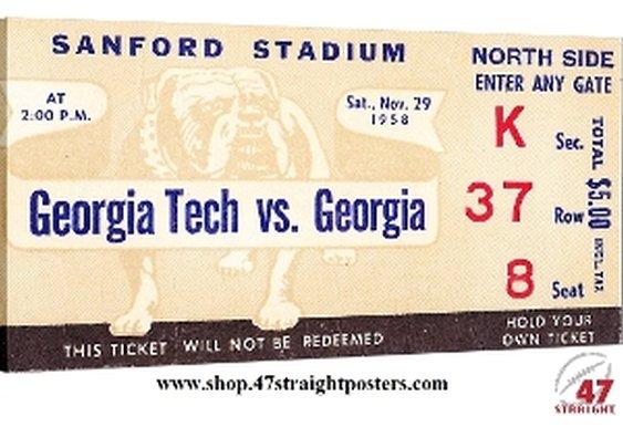 Georgia Bulldogs football art, college football art, vintage football art