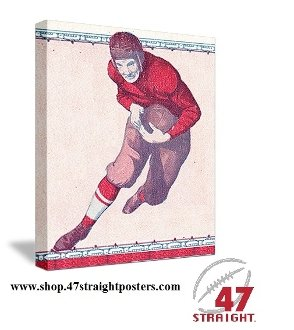 Father's Day Gift Ideas. Vintage football art. Vintage football gifts.