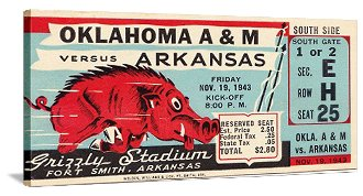 Arkansas football art. Arkansas Razorbacks Father's Day Gifts. 47 STRAIGHT™