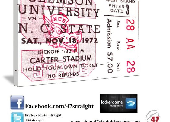 College football art. 1972 NC State football ticket art.