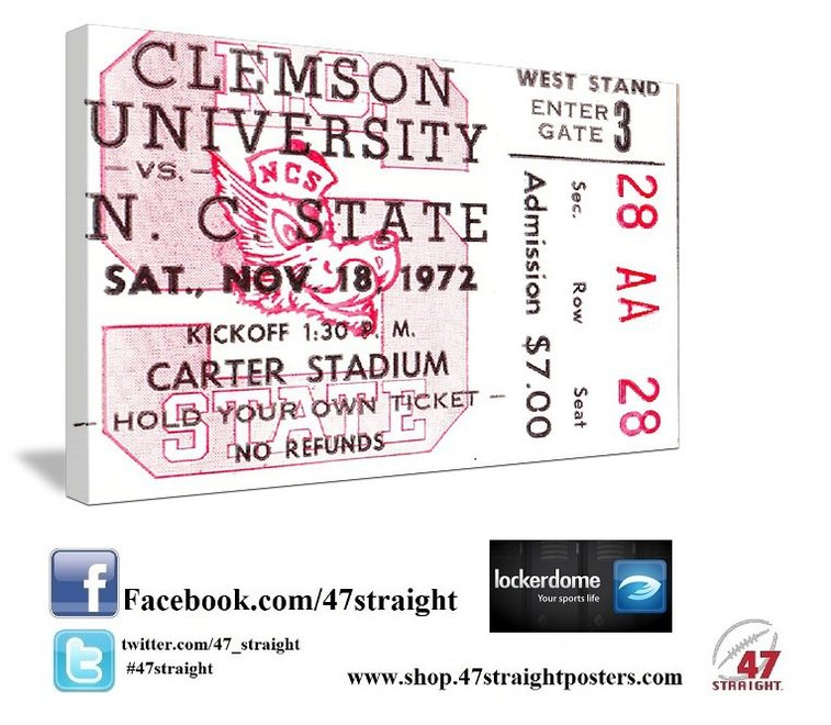 College football art. 1972 NC State football ticket art.