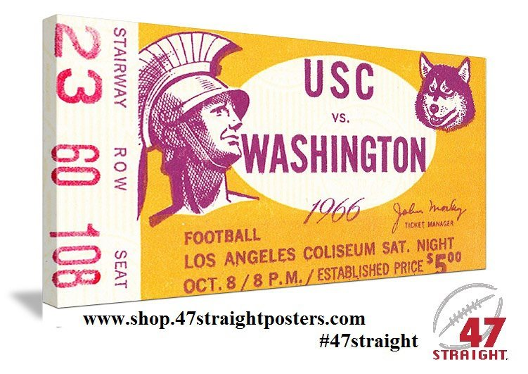 College football art. 1966 USC football ticket art. Football Father's Day Gifts.