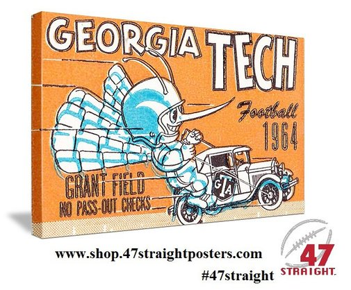 Georgia Tech football gifts, Georgia Tech football art. Father's Day Football Gifts.