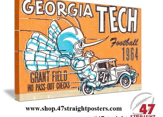 Georgia Tech football gifts, Georgia Tech football art. Father's Day Football Gifts.