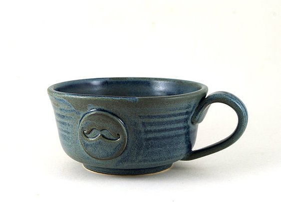 Mustache Mug Blue Ceramic Soup Bowl by MiriHardyPottery