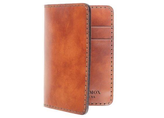 Antiqued Saffron Italian Calf Compact Bi-Fold Wallet - Chester Mox