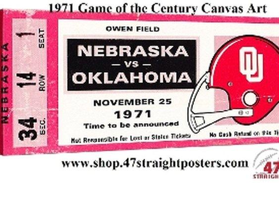College football art. 1971 Game of the Century. Oklahoma vs. Nebraska football ticket art.