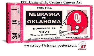 College football art. 1971 Game of the Century. Oklahoma vs. Nebraska football ticket art.