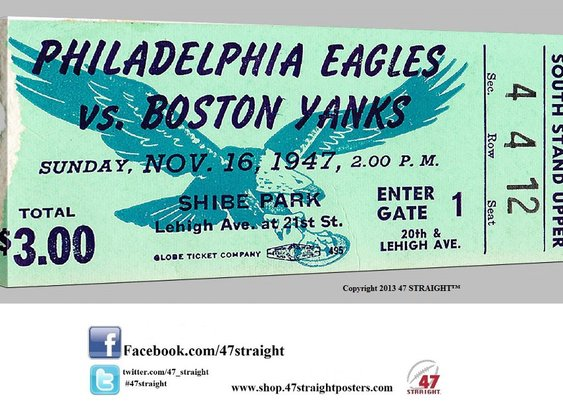 1947 Philadelphia Eagles football ticket art. Vintage football art.