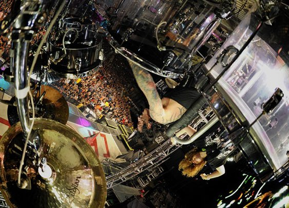 Photographing Tommy Lee Playing Drums Upside Down