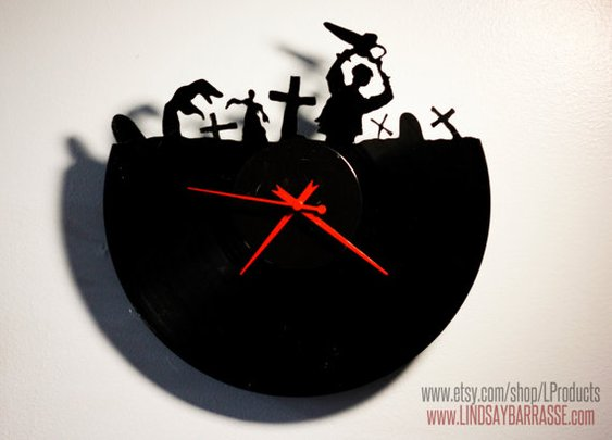 EVIL DEAD Style Design Vinyl Record Clock  Hand Cut by LProducts