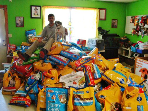 Someone stole all the dog food from this shelter! Within a week, the town had donated enough dog food to feed them for a year!