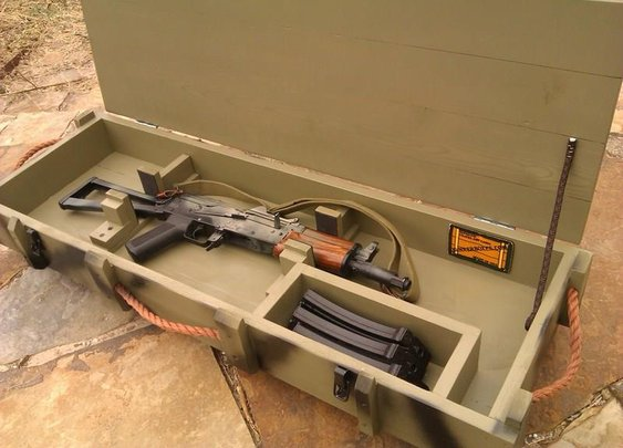 Inside view of rifle crate