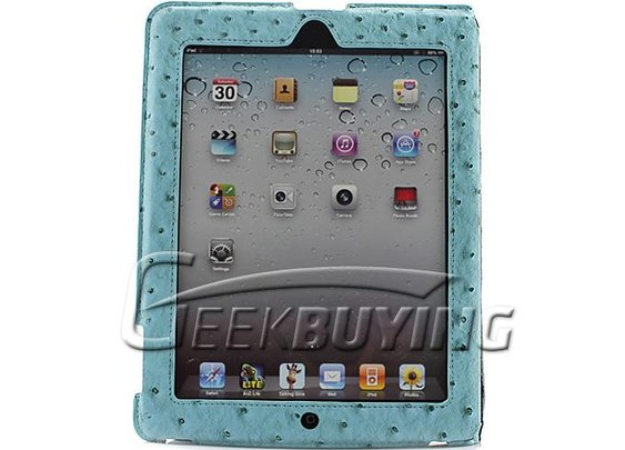 Brand New Peas Leather Cover Case For iPad2 the New iPad Blue - GeekBuying.com