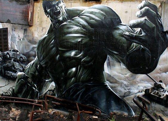 Realistic graffiti street art