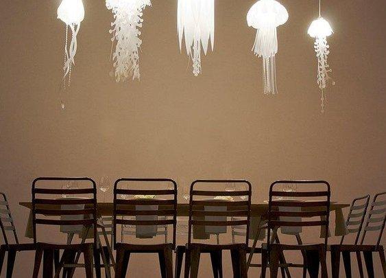 Jellyfish-inspired pendant lights.
