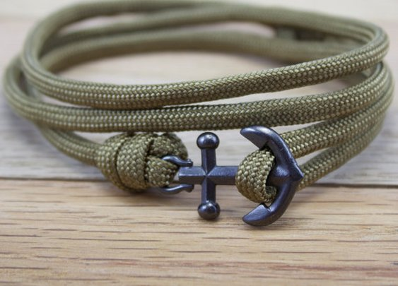 Anchor Paracord Nautical Bracelet in Khaki by DesignedTurning