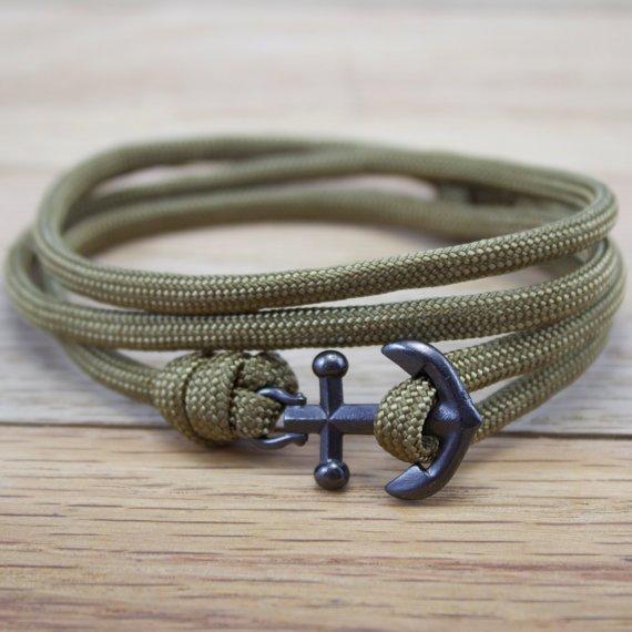 Anchor Paracord Nautical Bracelet in Khaki by DesignedTurning