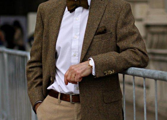 Sand color suit, sun glasses, hat, bow tie, watch