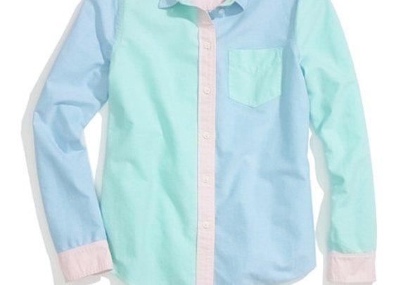 Patchwork Shrunken Boyshirt - shirts & tops - Women's NEW ARRIVALS - Madewell