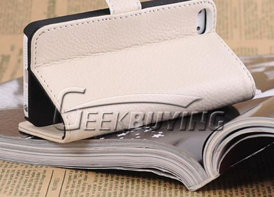 Brand New Wallet Protective Great Genuine Leather Pattern Case Cover For iPhone 5 - White - GeekBuying.com