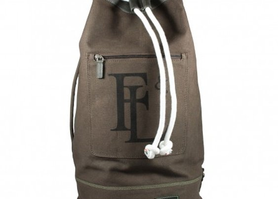 CANVAS DUFFEL BAG WITH LEATHER TRIM Forbes and Lewis