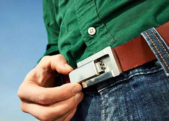 Buckle Puffer Belt with Hidden Pipe