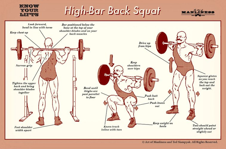 High Bar Back Squat: A Visual Guide | The Art of Manliness
