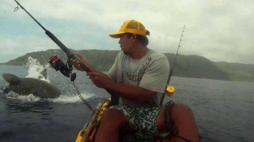 Shark Surprises Kayak Fisherman